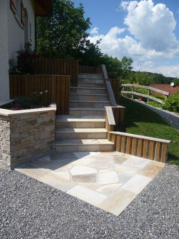 Terrasse en pierres naturelles quartzites et escalier - Terrasse en pierre naturelle ...